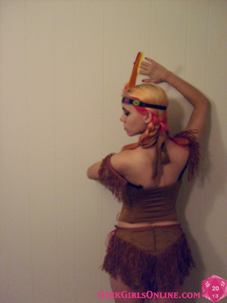 Athena Hollow does a little Thanksgiving cosplay in this skimpy Native American Princess costume.