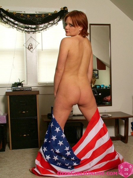 Geeky girl salutes troops